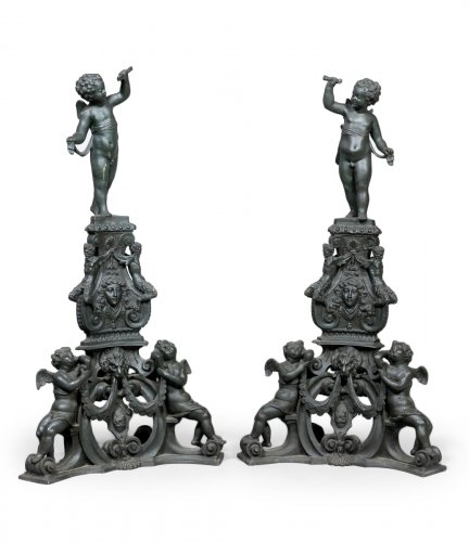 Impressive pair of Italian bronze andirons