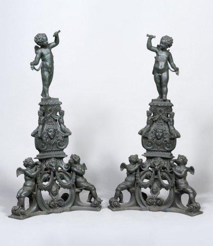 Impressive pair of Italian bronze andirons - Decorative Objects Style