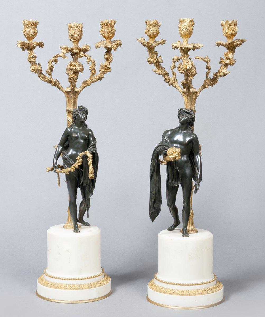 Paire de cand labres en bronze patin et dor xixe - Objet cylindrique 94 ...