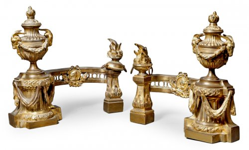 Louis XVI bronze andirons