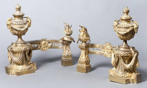 Louis XVI bronze andirons - Decorative Objects Style Louis XVI