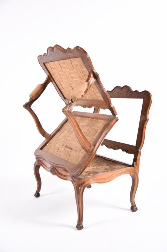 Rare French Louis XV fauteuil with system forming bed -