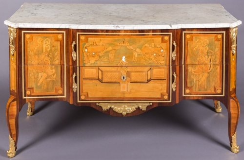 Transition - Commode en marqueterie estampillée I.G. SCHLICHTIG