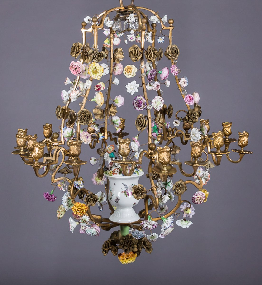 Rare louis xv bronze and meissen chandelier ref59171 rare louis xv bronze and meissen chandelier aloadofball Gallery