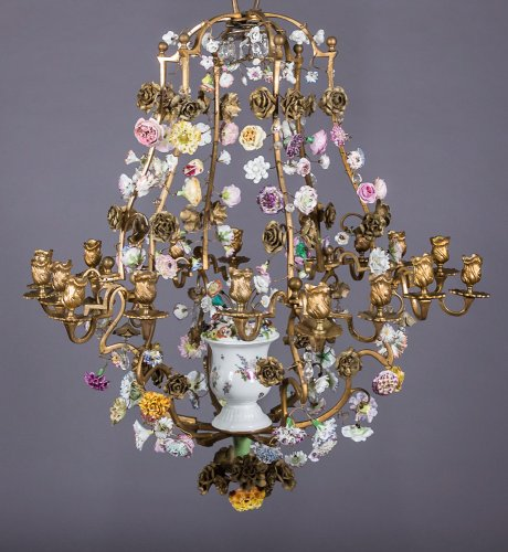 Rare Louis XV bronze and Meissen chandelier