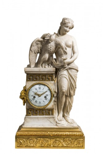 Louis XVI white Carrara marble clock, Hébé and Jupiter signed Audibert