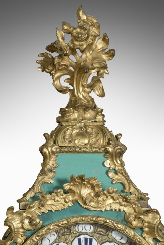 Clocks  - French Louis XV Wall Cartel in green horn