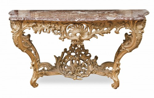 Large Louis XV giltwood console table