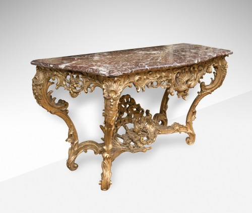 Large Louis XV giltwood console table - Furniture Style Louis XV