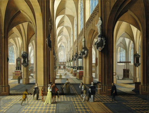 Pieter NEEFFS II (1620 - 1675) & Frans FRANCKEN III (1607-1667) - View of the interior of the Antwerp Cathedral