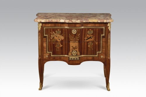 French 18th century Transition commode with inlay stamped by Nicolas PETIT - Furniture Style Louis XVI