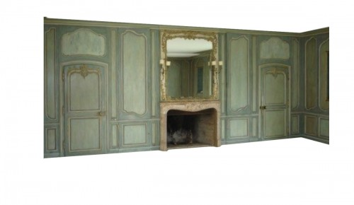 Louis XV boiserie panted and gilded wooden panels