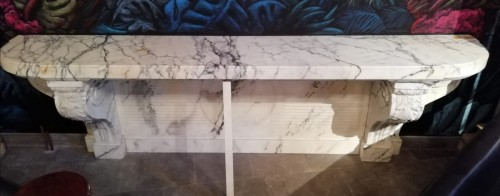 Important white marble console 19th century -