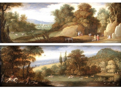 Marten RYCKAERT (1587 - 1631) - The hunt & Landscape with gypsies