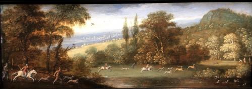 Paintings & Drawings  - Marten RYCKAERT (1587 - 1631) - The hunt & Landscape with gypsies