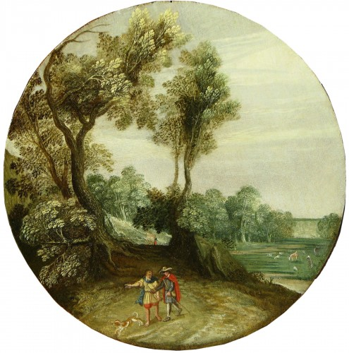 David II Ryckart (Antwerp 1586-1642) Landscape with two travellers and dog