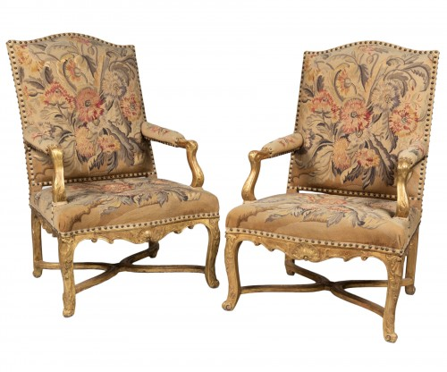 Pair of Régence armchairs à la Reine with Aubusson tapestry