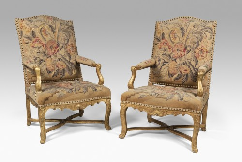 Pair of Régence armchairs à la Reine with Aubusson tapestry - Seating Style French Regence