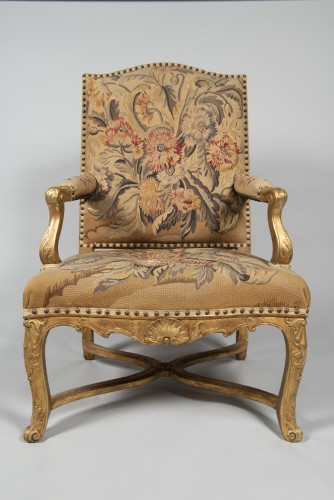 Seating  - Pair of Régence armchairs à la Reine with Aubusson tapestry
