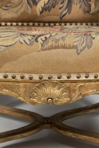 Pair of Régence armchairs à la Reine with Aubusson tapestry - French Regence