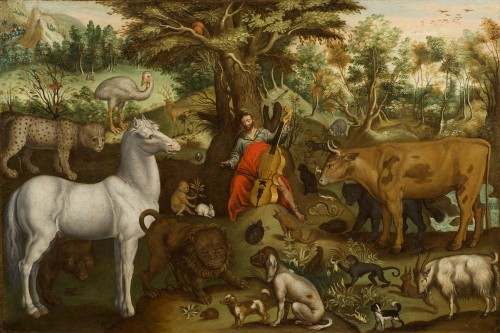 Orpheus charming animals - Circle of Nicolaes de Bruyn (Antwerp Circa 1625)