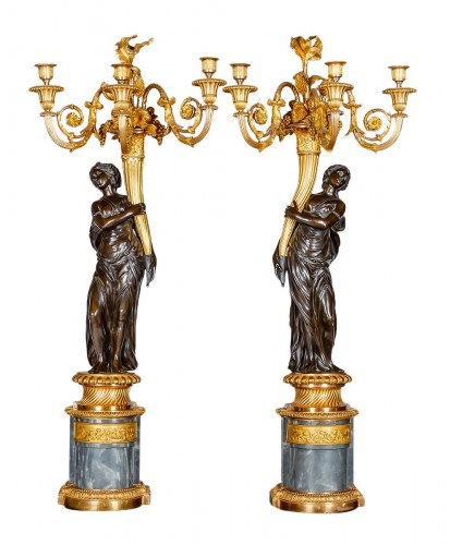 Pair of Louis XVI candelabras attributed to the bronzemaker François REMOND