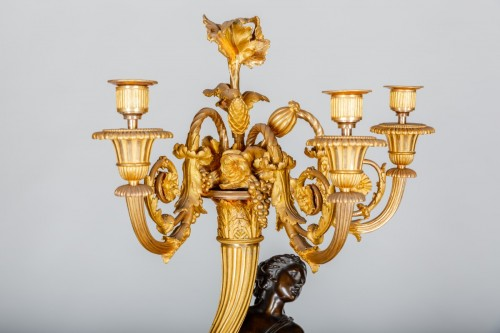 Pair of Louis XVI candelabras attributed to the bronzemaker François REMOND -