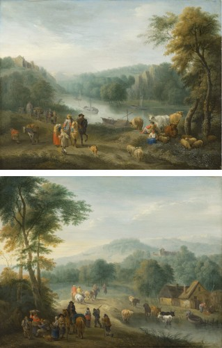 Balthazar Beschey (Antwerp 1708 - 1776) - Pair of landscapes with figures