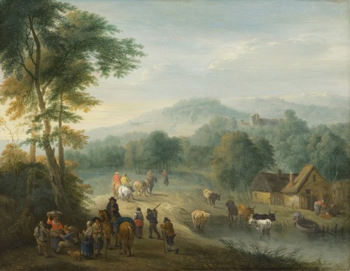 Balthazar Beschey (Antwerp 1708 - 1776) - Pair of landscapes with figures - Paintings & Drawings Style