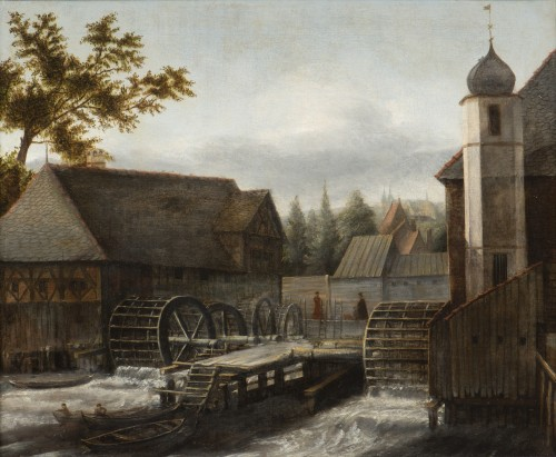 The water mill. - Jan Van Kessel (Amsterdam 1641 - Amsterdam 1680)