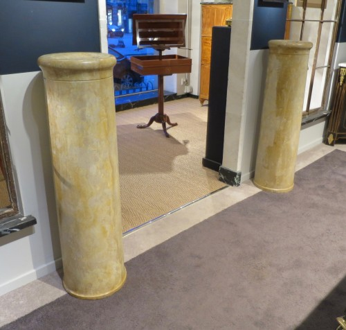 Antiquités - Pair of marble columns Italy 18th century