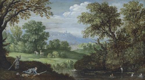 Marten Ryckaert (1587 - 1631) - Hunters in a river landscape
