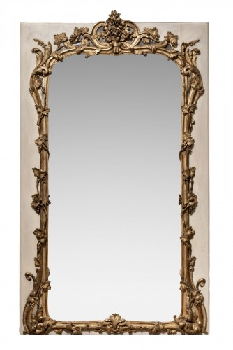 Louis XV mirror gilt and painted sculpted wood