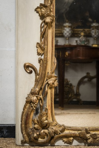 Mirrors, Trumeau  - Louis XV mirror gilt and painted sculpted wood