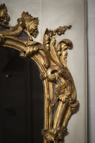 Louis XV mirror gilt and painted sculpted wood -
