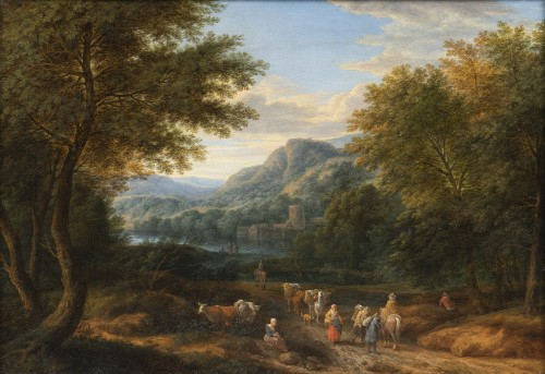 Adriaen Frans Boudewijns (Brussels 1644 - 1711) - Landscape with travellers