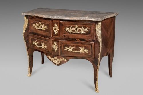 LOUIS XV commode sauteuse with three drawers by JACQUES BIRCKLÉ - Furniture Style Louis XV