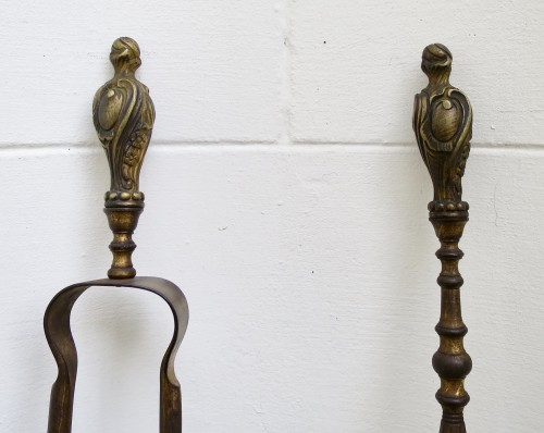 Louis XV fire accessories gilt bronze and wrought iron - Decorative Objects Style Louis XV