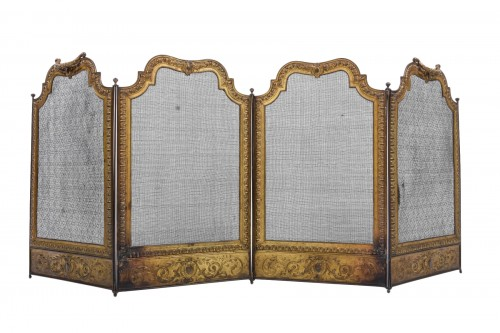 Fire screen gilded brass and bronze