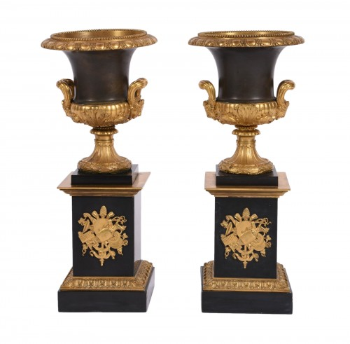 Pair of Empire Medicis bronze and marble vases