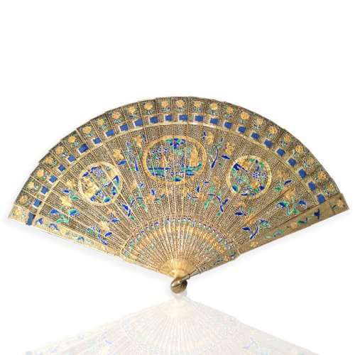 Chinese export gilt silver filigree brisé fan, late 18th century