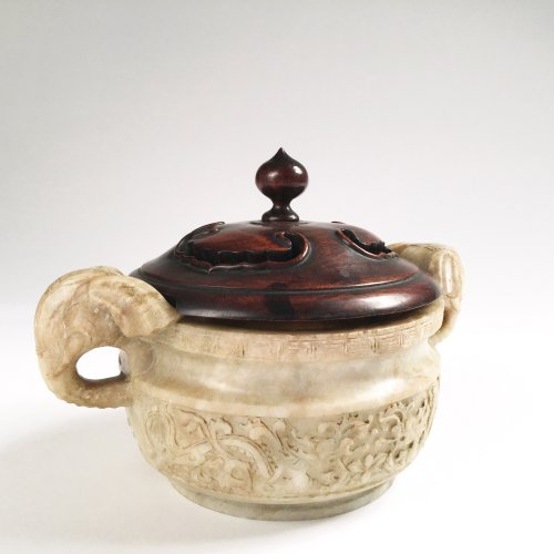 China, An unusual soapstone censer, Ming Period. -
