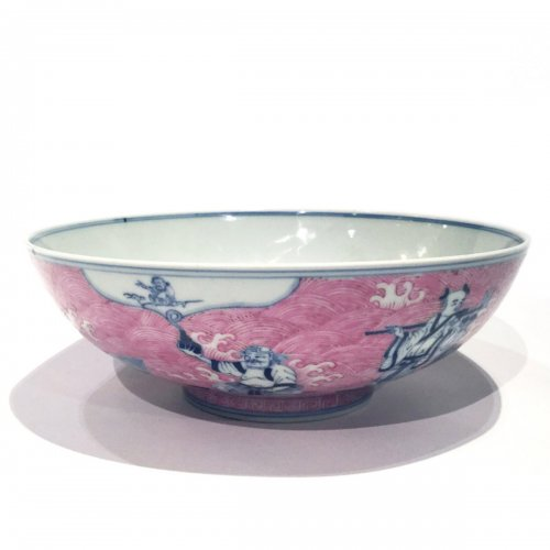 """A fine  Chinese underglaze blue and puce enamelled """"immortals"""" porcelain bowl"""