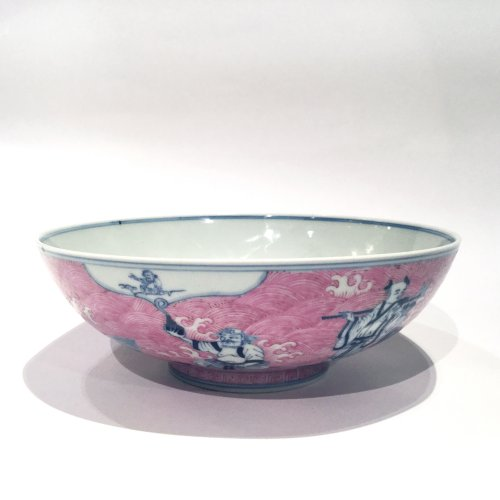 """A fine  Chinese underglaze blue and puce enamelled """"immortals"""" porcelain bowl - Asian Art & Antiques Style"""