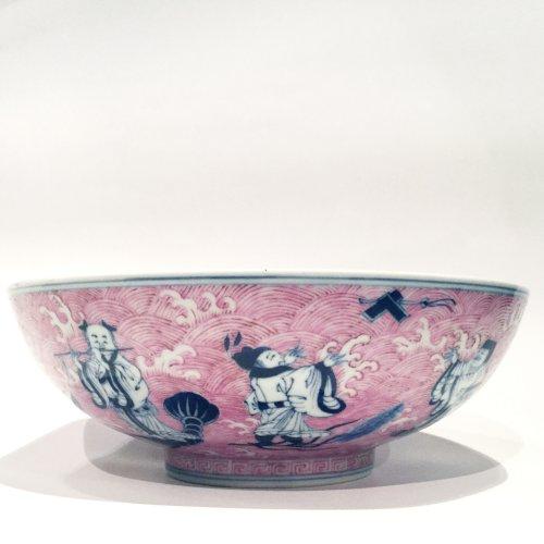 "Asian Art & Antiques  - A fine  Chinese underglaze blue and puce enamelled ""immortals"" porcelain bowl"