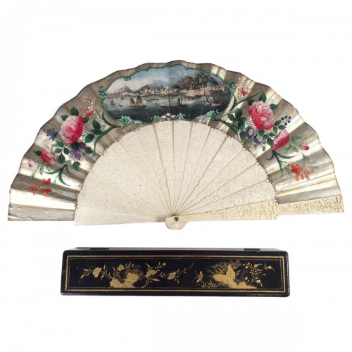 China, Cantonese fan with a view of Macau circa 1870