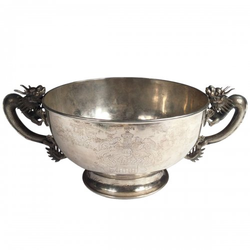 China,  Large Sterling silver bowl  by Luen Wo in SHanghai