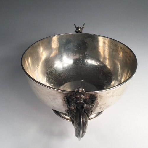 Asian Art & Antiques  - China,  Large Sterling silver bowl  by Luen Wo in SHanghai
