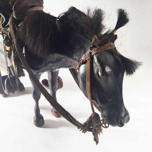 Asian Art & Antiques  - Japan, 19th c black lacquer horse doll, Kazari-uma ningyo.