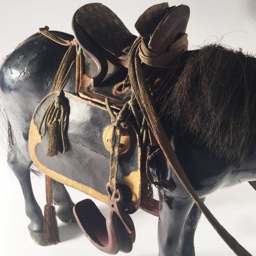 Japan, 19th c black lacquer horse doll, Kazari-uma ningyo. -